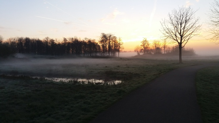 Morning run Holland (Gouda) with sunrise
