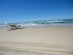 Landing the plane on Fraser Island